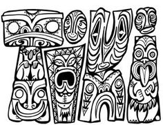 Maori Tiki Colouring Pages Coloring Sheets For Kids, Colouring Pages, Coloring Books, Free Coloring, New Zealand Image, New Zealand Art, Totem Poles For Kids, Tiki Man, Maori Patterns