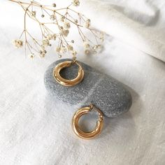 """Thick Hoop Earrings, Stainless Steel Small Hoops, Yellow Gold Color, 0.7""""- (2 cm) Diameter, Minimal Jewelry Silver Hoop Earrings, Crystal Earrings, Stud Earrings, Silver Hoops, Ideas Joyería, Natural Stone Jewelry, Minimal Jewelry, Jewelry Photography, Minimalist Earrings"""
