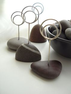 Brown Beach Stone Event Table and Number Name by tidalhandcrafts, $48.00