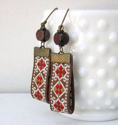 Boho Earrings Brown Red Yellow White Fabric Wood by TheWhirlwind Fabric Earrings, Leather Earrings, Leather Jewelry, Beaded Earrings, Earrings Handmade, Beaded Jewelry, Handmade Jewelry, Textile Jewelry, Fabric Jewelry
