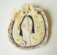 hens teeth : brooch pin : her name is Constance Fabric Brooch, Felt Fabric, Fabric Dolls, Fabric Art, Fabric Scraps, Textile Jewelry, Fabric Jewelry, Textile Art, Embroidery Stitches