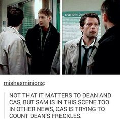 No it's because misha laughs right when he looks at Jared so he has to look at Jensen also cass was talking to Dean so NO FANDOM!!!!