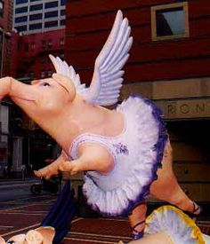 "My dad was fond of saying ""When pigs fly!"" I guess they do. LOL One of many statues from the Big Pig Gig Flying Pig Marathon, Pig Art, Mini Pig, Cute Piggies, Animal Statues, This Little Piggy, Outdoor Sculpture, All Things Purple, Animal Paintings"