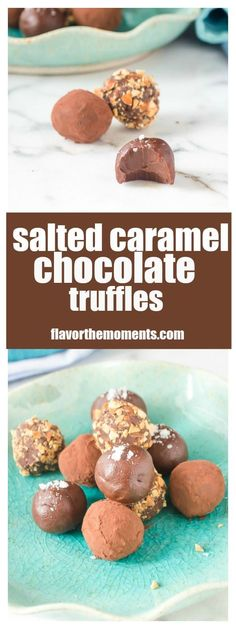 Salted Caramel Chocolate Truffles are beyond easy to make, and are perfect for holiday gift giving! #chocolate #truffles #candy #saltedcaramel
