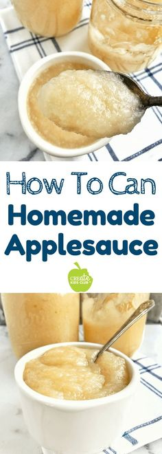Homemade applesauce is easy to make!  This recipe has just two ingredients, can be make on the stovetop or in your crockpot.  Instructions for canning homemade applesauce are included.  A great fun family activity to do together this fall that teaches children how food is made. #homemadeapplesauce #canning #applesauce #howtomakeapplesauce #fallrecipes #howtocanapplesauce
