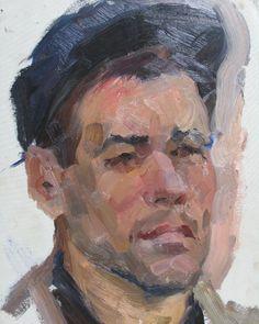 Driver of Kedrovsky Open-cast Mine. Portrait of a soviet worker 1962 Original oil painting on cardboard by russian artist on Etsy, £249.70