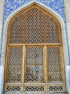 Mosaic wooden lattice window