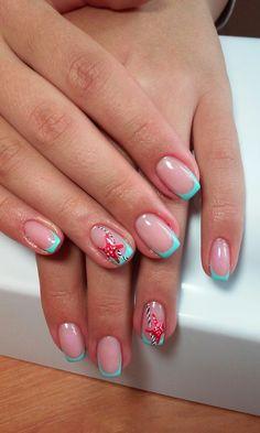 Gel polish sea nails, Marine nails, Nails nautical, Navy french manicure, Sea nails, Sea nails ideas, Shellac sea nails, Summer sea nails