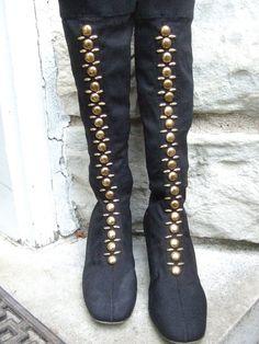 c56449c4f15 1970s Black Cloth Studded Grommet Boots US Size 6 M
