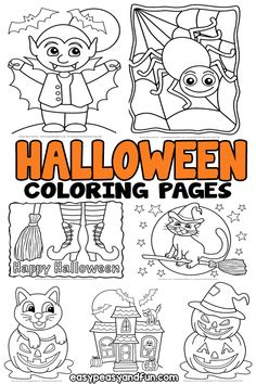 Halloween Coloring Pages - lots of fun designs for all ages coloriage halloween à imprimer Theme Halloween, Halloween Crafts For Kids, Halloween Pictures, Holidays Halloween, Easy Halloween, Halloween Decorations, Halloween Activities, Kids Crafts, Colouring Pages