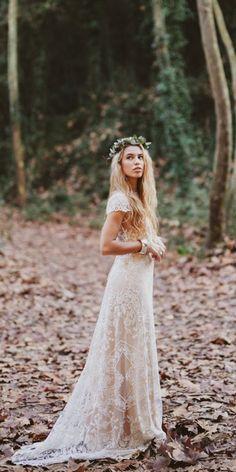 lace boho bridal gowns 1