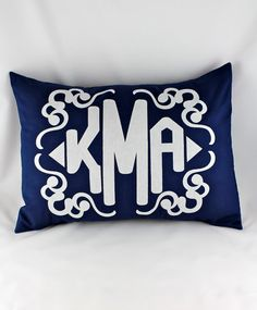 custom personalized monogram pillow.  with custom applique.  comes in any color or design.