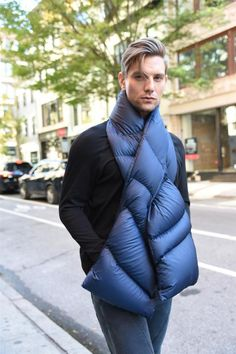 a chic, unique way to keep your neck warm, and your hands toasty! Enjoy this scarf layered over your coat as a stylish and functional. Unisex Fashion, Mens Fashion, Softshell, Down Coat, Neck Warmer, Keep Warm, Hand Warmers, Scarf Styles, Knits