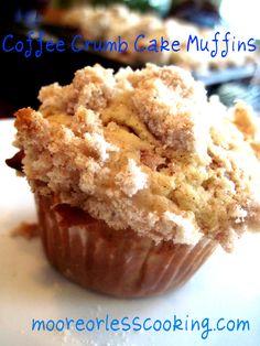 Coffee crumb Cake muffins http://mooreorlesscooking.com/2013/01/20/coffee-crumb-cake-muffins/
