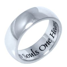 "Stainless Steel Men or Womens Band Ring with ""Two Souls One Heart"" Inscribed Size 6 Hail Mary Gifts,http://www.amazon.com/dp/B009WSOH78/ref=cm_sw_r_pi_dp_XqFPsb1TJCK51Z0C"