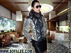 "№108 Elegant fitted leather jacket for women's ""Onyx"" - Exclusive leather jackets&blazers. Women's clothes leather jackets from real python skin,genuine crocodile (alligator) hide skin, suit, coat, vest, dress of leather. Luxury Sheepakin. Mittens&Earmuffs fur red/silver fox, mink. Shop for jackets. Costumes for movie stars, concert, dance, show. Make to order luxury leather clothing."