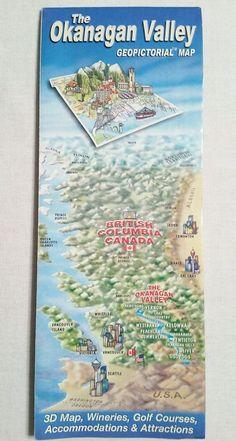 Okanagan Valley British Columbia Canada Geopictorial Map Wineries Kelowna