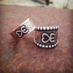His and her brand rings by Silo Silver