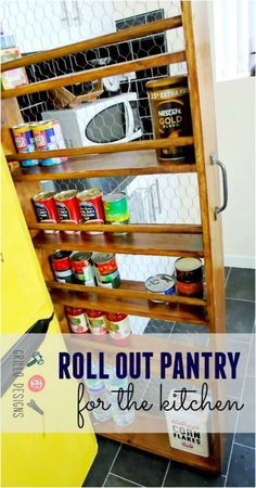 I used an awkward space in between my fridge and counters to create a roll out storage system. Find out how I did it here!