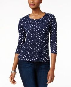 Charter Club Petite Dot-Print Top, Only at Macy's - Blue P/XL