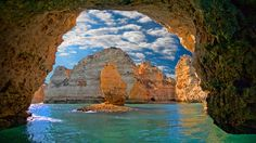 Natural arch at Ponta da Piedade, near Lagos, Portugal - Bing Wallpaper. Bing daily images are all in bing. Provides Bing daily wallpaper images gallery for several countries. Atlantis, Sea Cave, Ocean Wallpaper, Computer Wallpaper, Visit Portugal, Portugal Trip, Foto Art, France, Nature Images