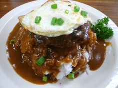 One of most popular Hawaiian Local Foods is Loco Moco.