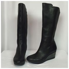 Tsubo Kynlee Black Leather Tall Wedge Boots US 6 5 | eBay