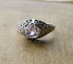 Vintage ART DECO Ring  Engagement Style Ring  by MaeClaraVintage, $90.00