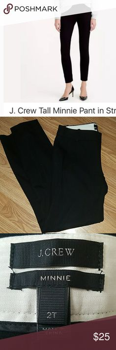 """J. Crew Tall Minnie Pant in Stretch size 2 tall Excellent used condition.  Dry Clean Only Sits just above hip. Fitted through hip and thigh, with a skinny, cropped leg Product details: It's called the """"magic pant"""" around the office for a reason: It's sleek, chic and slim fitting, with an exactly-right-length leg. And it goes with just about everything. J. Crew Pants Ankle & Cropped"""
