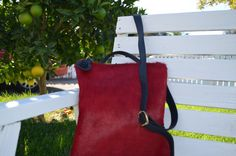 RED leather cross-body and clutch women handbag by CarteraBags