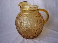 Vintage Anchor Hocking LIDO Milano Amber Gold Ball Glass Pitcher Honey  Ice  60s