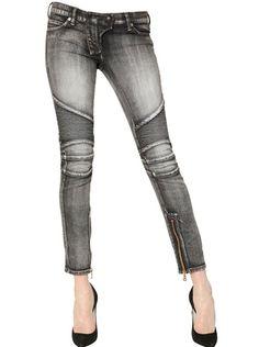 Quilted Stretch Denim Biker Jeans - Lyst