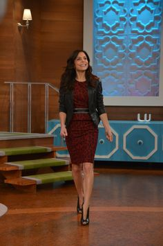 Dress and Jacket: Karen Millen Belt: French Connection Earrings: Bethenny's personal earrings Ring: Fragments NYC Heels: Gianvito Rossi