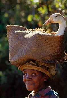 African Lady with her duck Photo by Frans Lanting----How comfortable can you get !!