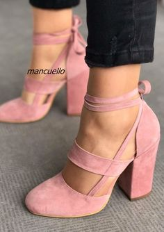 81.10$ Buy now - http://alix3q.shopchina.info/go.php?t=32808812192 - Classy Pink Suede Cut-out Block Heel Shoes Sweet Chunky Heel Round Toe Lace Up Pumps Pretty Girls Comfy Dress Shoes New Arrival 81.10$ #buyonline