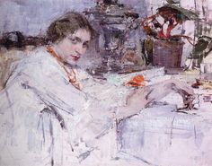 "Nikolai Ivanovich Fechin - "" For the samovar. Portrait O. Portraits, Portrait Art, Figure Painting, Painting & Drawing, Nicolai Fechin, Paintings Famous, 26 November, Academic Art, Impressionist Artists"