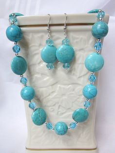 Turquoise Blue Howlite and Crystal Necklace Set