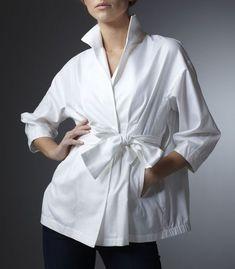 White Cotton Barathea Blouse