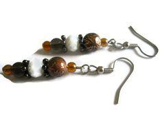 Rustic Brown Glass Earrings Bohemian Earrings by chicagolandia, $16.00
