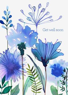 Margaret Berg Art : Illustration : get well / sympathy - Watercolor - Watercolor And Ink, Watercolour Painting, Watercolor Flowers, Painting & Drawing, Watercolors, Drawing Flowers, Art Floral, Illustration Blume, Type Illustration