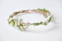 Woodland wedding flower crown, Elven circlet, Bridal headpiece, Forest wedding hair accessories, Natural, Fairy - FAUNA