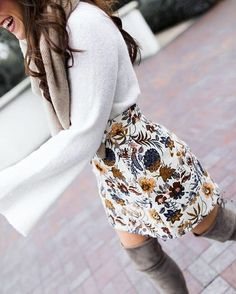 Ivory Bell Sleeve Sweater - Floral Mini Skirt - Topshop Mini Skirt This ivory bell sleeve sweater is SO SOFT it's a dream! When paired with this floral mini skirt and OTK boots it becomes a retro yet modern oh-so-fab look! Mode Outfits, Edgy Outfits, Fashion Outfits, Womens Fashion, Teen Fashion, Ladies Fashion, Skirt Fashion, Floral Outfits, Woman Outfits
