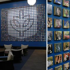 From left to right: DePaul University Welcome Center, Focus Wall; Detail of DePaul University Welcome Center, Focus Wall