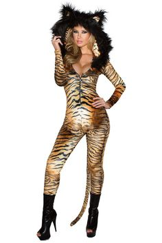 Tiger Catsuit with Tail Costume
