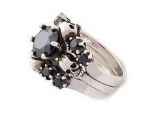 Skull Wedding Ring Set Skull Anniversary Ring Dark Bridal