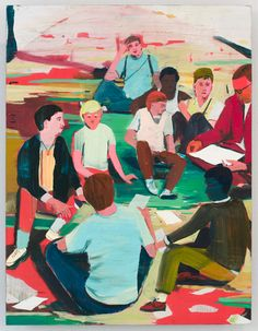 Jules de Balincourt, A Few Good Men, 2010, Oil and acrylic on panel, 26x20in (66x50.8cm)
