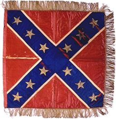 Hetty Cary's Flag presented to General's Beauregard and Johnston.  Silk with gold gilt stars and cross. at the MOC