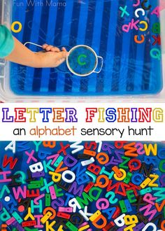 This alphabet letter fishing preschool activity is great for toddlers or elementary aged kids. It can be used for sight words, name recognition and single alphabet letters too. Add this preschool letter activity to go with your letter crafts. Teaching Letters, Preschool Letters, Learning The Alphabet, Preschool Learning, Alphabet Letters, Letter Tracing, Learning Spanish, Toddler Learning, Fun Learning