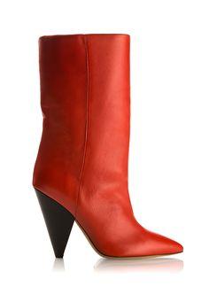 BOTTINES LEXING EN CUIR ROUGE ISABEL MARANT. #shoes #boots #redshoes
