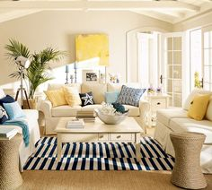 Pottery Barn light and airy living room.
